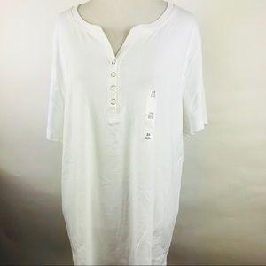 Karen Scott Henley Button Accent Shirt White 2X